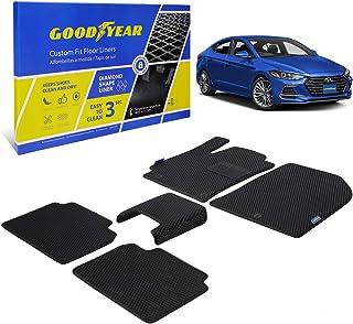 Goodyear Custom Fit Car Floor Liners for Hyundai Elantra 2017-2020, Black/Black 5 Pc. Set, All-Weather Diamond Shape Liner...