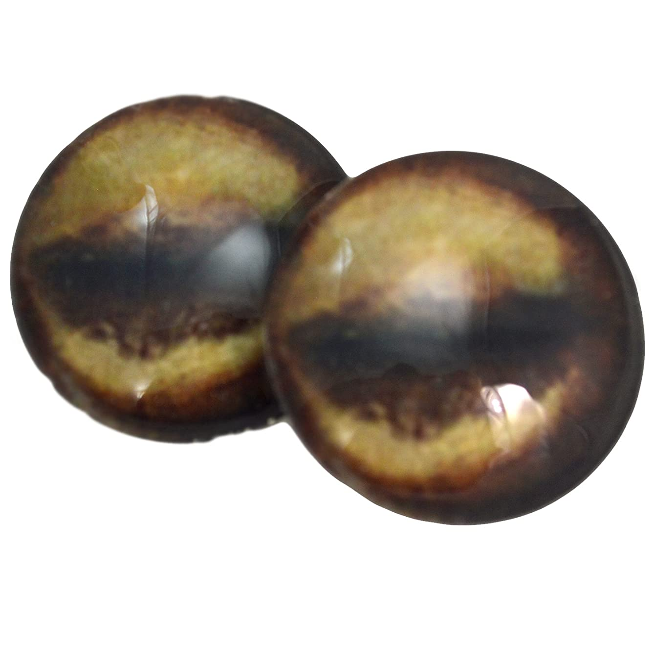 Megan's Beaded Designs 40mm Glass Antelope Eyes Animal Pair Realistic Taxidermy Sculptures or Jewelry Making Crafts Set of 2,brown