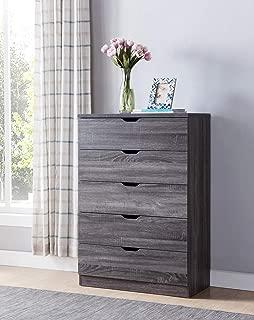 SMART HOME K16068 Contemporary 5 Drawer Chest Dresser, Distressed Grey Color, Dresser for Bedroom