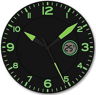 FISHTEC Horloge Murale Design Moderne - Pendule Murale Silencieuse sans Tic Tac - avec Température Digitale - Convient pou...
