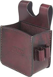 TOURBON Vintage Genuine Leather Waist Shooting Ammo Bag Shotgun Shell Pouch - Holds A Box of 25 Rounds