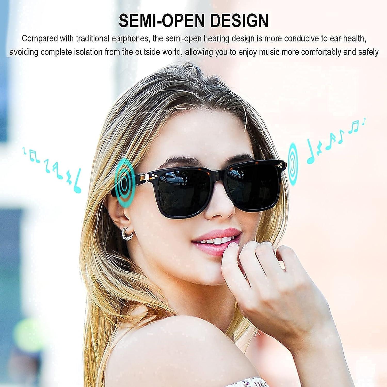 Smart Glasses for Women, Tortoiseshell Fashion Music Sunglasses, Open Ear Speaker Wireless Audio Glasses - APTX-HD, Waterproof IPX5, Square Frame Glasses, Voice Assistant On-Call Smart Glass - SP03