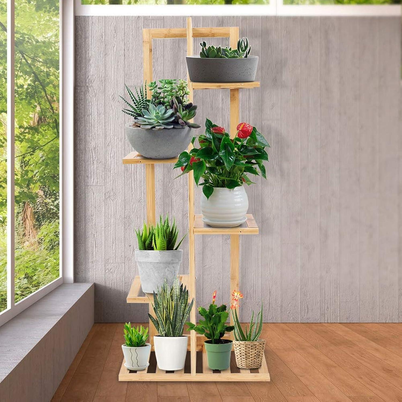 Wood Plant Flower Pot Stand Garden Planter Nursery Pot Stand Shelf Indoor Outdoor Garden Decoration Gifts Tools,5Tiers