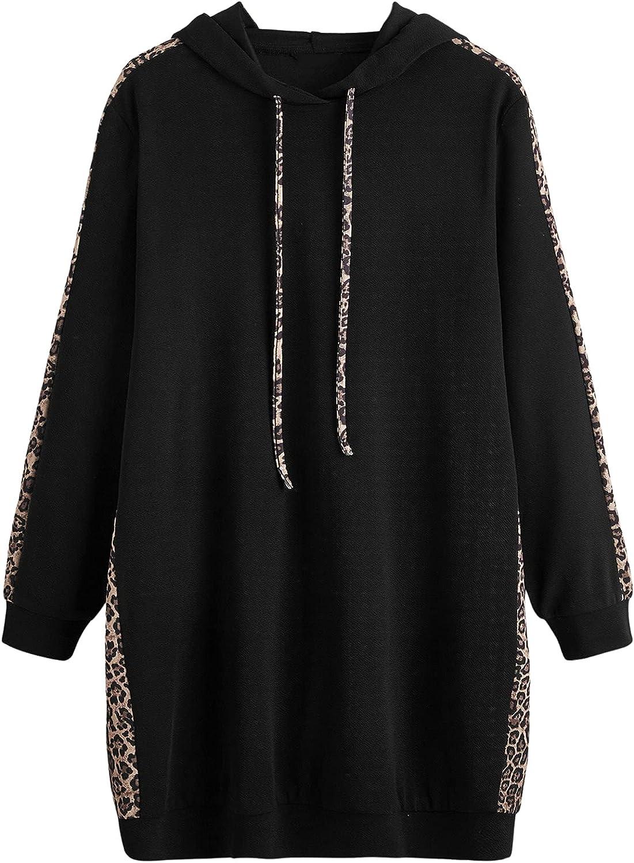 SheIn Women's Long Sleeves Sweatshirt Dress Leopard Hoodie Drawstring Long Pullover