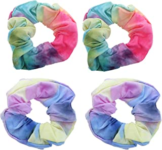 Blue Multi Rainbow Multi-Color Tye Dye Scrunchies - Set of 4