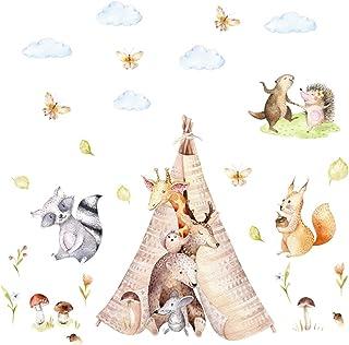 121 väggtatuering vänner i tipi tält björn giraff igel akvarell – i 6 storlekar – barnkammare sticker dekal väggdekor pojk...
