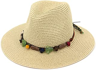 Hats Ladies Outdoor Beach Sun Visor Cool Straw Hat Fashion (Color : Beige)