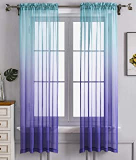 Blue Purple Ombre Sheer Curtains for Kids playroom 2 Panels Rod Pocket Bedroom Window Semi Voile Drapes Faux Linen Décor G...