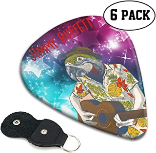 Jimmy Buffett Guitar Picks Guitar 6 Picks With Leather Picks Holder For Electric Guitar, Acoustic Guitar, Mandolin, And Bass .46mm