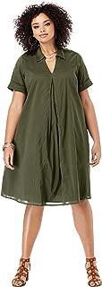 Roamans Women's Plus Size Collared Swing Dress