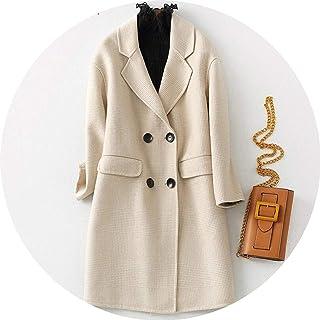 Women Winter Plaid Wool Blend Basic Jacket Coat Office Long Overcoat Cashmere Coats