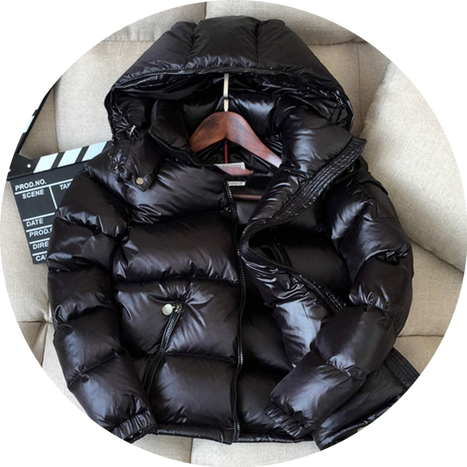 90% White Duck Down Jacket Winter Coat Thick Short Bright Hooded Overcoat Women's Jackets