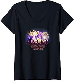 Femme Stranger Things Carnival Silhouettes Logo T-Shirt avec Col en V