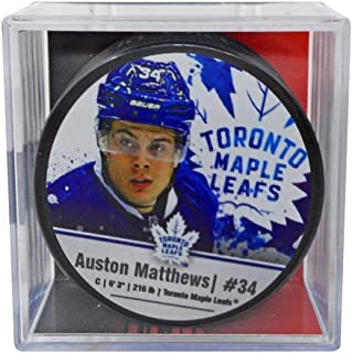 Auston Matthews Toronto Maple Leafs Official Game Hockey Puck with Holder