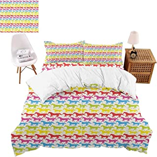 vroselv-home Bedding Duvet Cover Set 4 Pieces, Rainbow Color Giddy Up Quilt Cover Zipper & Tie for Bedroom, Luxury Guestroom Decor - Queen Size/NO Comforter