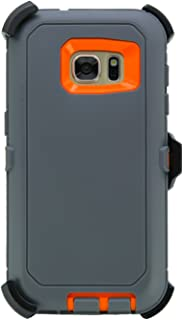 """WallSkiN Turtle Series Holster Case for Galaxy S7 (5.1""""), 3-Layer with Screen Protector, Full Body Life-Time Protection, Protective Heavy Duty & Carrying Belt Clip - Dark Grey/Orange"""