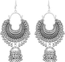 Roops Collexion Afgani Chand German Silver Oxidized Grey Jhumki Earrings for Women