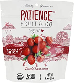 Patience Fruit & Co. - Whole & Juicy Dried Cranberries Sweetened with Apple Juice - 4 oz.
