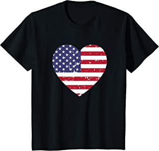 Kids Girls American Flag Heart Stars Stripes Patriotic Gift T-Shirt
