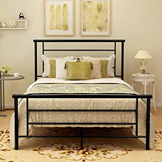 Metal Bed Frame Full Size with Headboard and Footboard Mattress Foundation Metal Platform Heavy Duty Slat Support Box Spring Replacement for Adult Beds Black