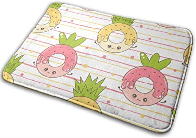 Pineapple Donut Funny Door Mat Rug Indoor/Front Door/Shower Bathroom Doormat, Non-Slip Doormats, 23.6 X 15.8 Inch