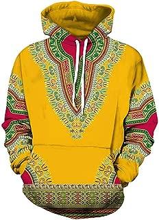 Unisex Long Sleeve Fashion African Dashiki Printing Men Hoodies with Pocket Sweatshirts