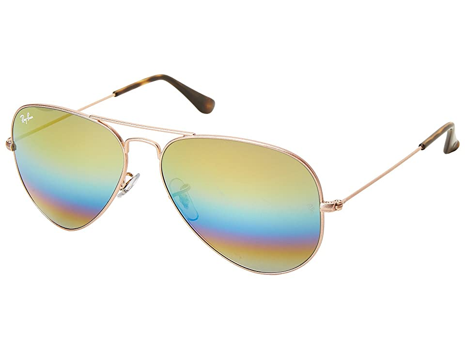 Ray-Ban RB3025 Original Aviator 58mm (Light Bronze/Gold/Blue/Green Rainbow Mirror) Metal Frame Fashion Sunglasses