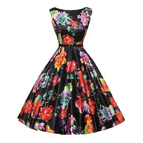 8d49fd9ab9d GRACE KARIN Boatneck Sleeveless Vintage Tea Dress Belt