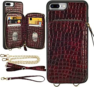 """LAMEEKU iPhone 8 Plus Wallet Case, iPhone 7 Plus Stone Pattern Zipper Card Holder Slot Case with Strap Crossbody Chain, Shockproof Protective Phone Cover for iPhone 8 Plus/7 Plus 5.5""""-Wine Red"""