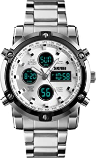Stainless Steel Strap Outdoor Sport Watch Analog Digital LED Dual Time Display Mens Watch