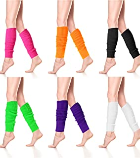 6 Pairs Neon Kit Leg Warmers Ribbed Leg Warmers High Long Socks for 80s Party Dance Sports Yoga