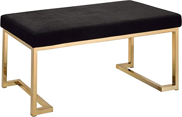 Acme Furniture 96595 Boice Bench One Size Black Fabric And Champagne