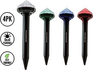 E & S Mole Repellent | Ultrasonic Pest Repeller | LED | Mice | Gopher | Deterrent | Vole Chaser | Spikes | Animal | Repellant | Water Resistant | Squirrel | Garden Light | 4 Pack