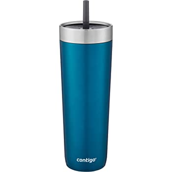 Contigo Luxe Stainless Steel Tumbler with Spill-Proof Lid and Straw | Insulated Travel Tumbler with No-Spill Straw, 24 oz, Biscay Bay