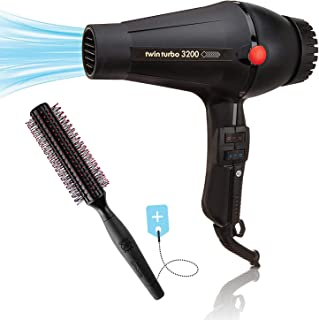 Twin Turbo Power 3200 Hair Dryer, Ionic Ceramic Tourmaline Powerful Blow Dryer with Hair Brush RPM 12 for Smooth Soft Silky Hair, Made in Italy
