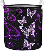 WELLFLYHOM Purple Butterfly Laundry Hamper Collapsible Large Clothes Basket with Strong Handles for Clothes Toys, Bedroom ...