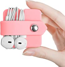 ELFRhino Silicone Earphone Organizer Earbuds Holder Earphone Wrap Winder Headphone Cord Organizer Wrap Winder Manager/Cable Winder(Pink, 1 Piece)