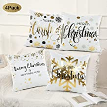 FUNCUBE Christmas Decorative Throw Pillow Covers (Pack of 4) - Cotton Cushion Cover - Throw Pillow Cover - Sofa Throw Pillow Cover - Square Decorative Pillowcase - Dark Blue - 18