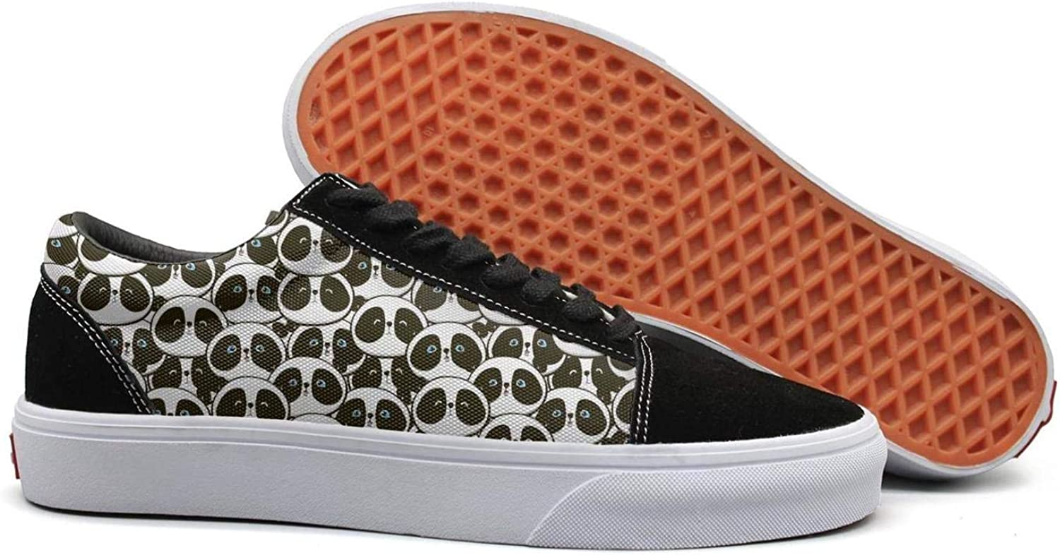 Cute Panda Bear Bamboo Womens Lace up Canvas shoes Canvas Upper