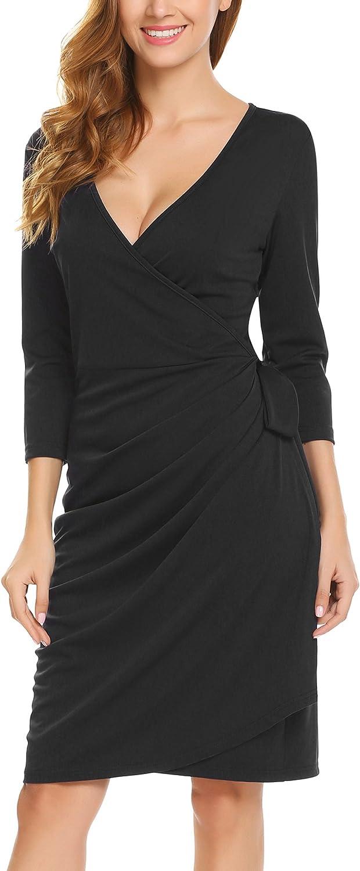 Zeagoo Women's Classic 3 4Sleeve VNeck Draped TieBelt Cocktail Wrap Dress, Black2, Large