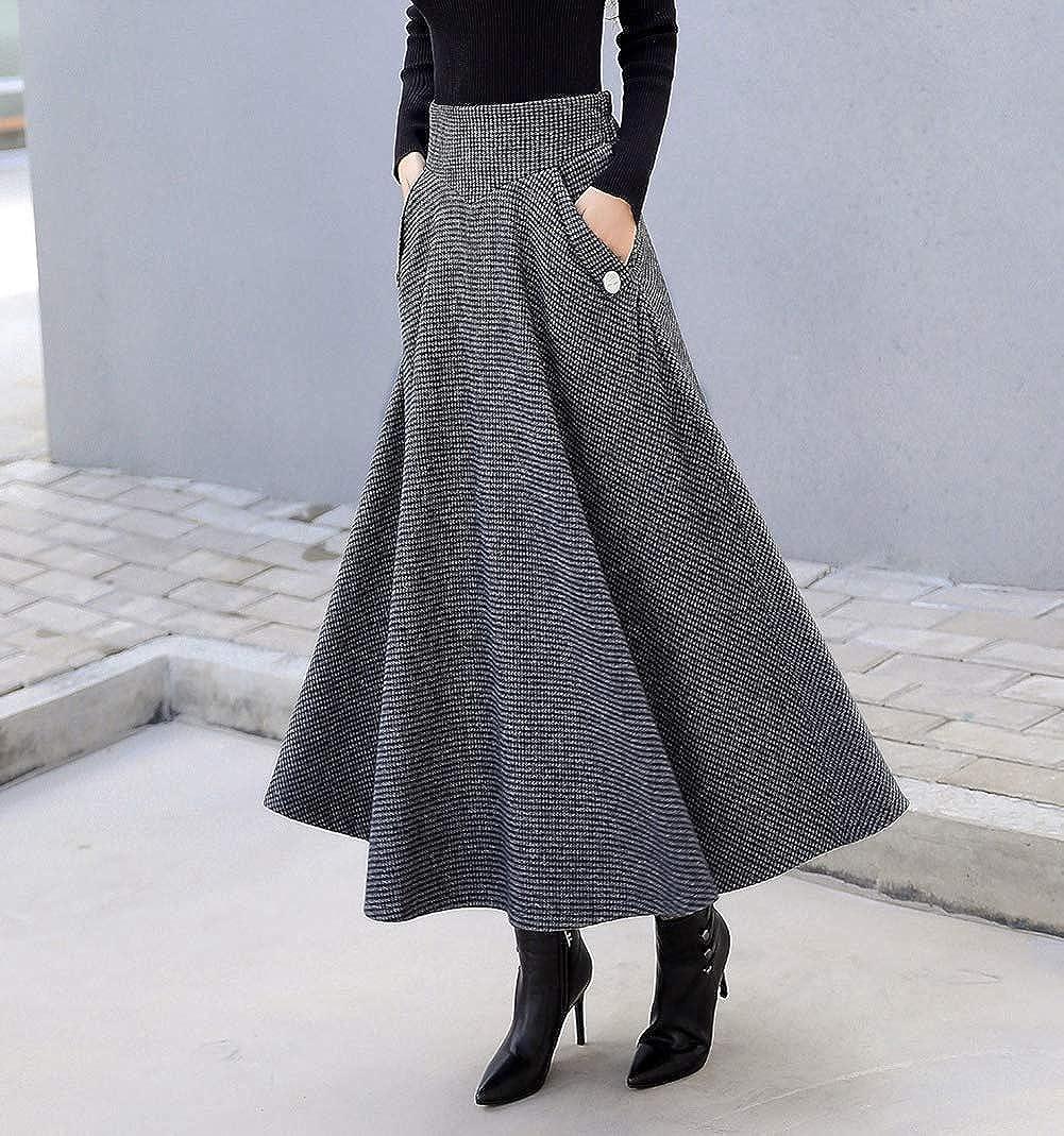 Moviendress Donna Lunga Vita Alta Elastica Gonna Pieghe Vintage Eleganti Inverno Autunno Lana Caldo A-Linea Gonne