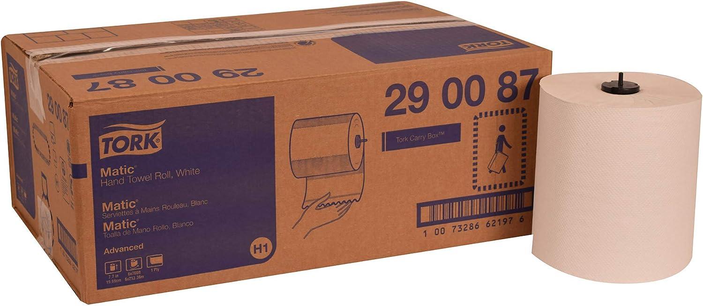 Tork 290087 Advanced Matic Paper Hand Towel Roll, 1-Ply, 7.7  Width x 700' Length, White, Green Seal Certified (Case of 6 Rolls, 700 Feet per Roll, 4,200 Feet)