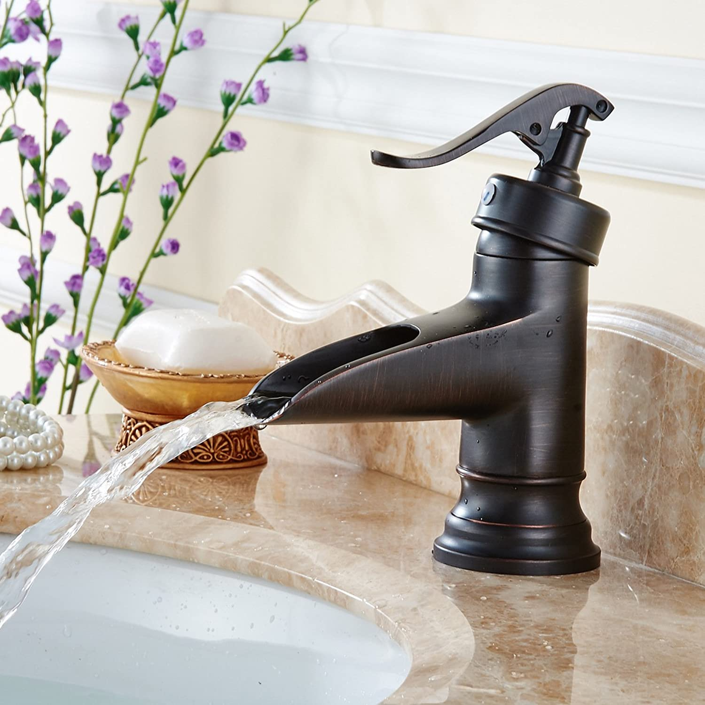 LHbox Basin Mixer Tap Bathroom Sink Faucet Basin taps full Copper BlackAntique bathroom sink faucet blackAntique faucet waterfall faucet low water faucet