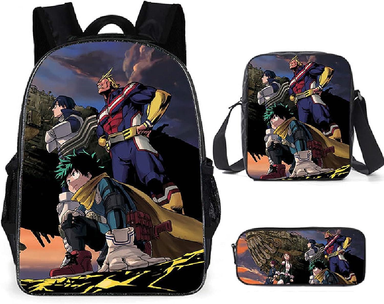 Desk Student Anime Bookbag Set Boston Mall My Hero Max 78% OFF Academia Backpack Unisex