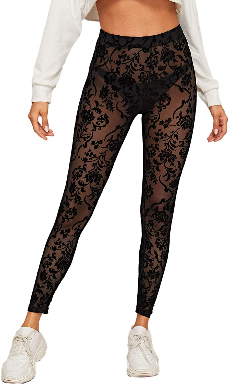 SweatyRocks Women's Floral Sheer Mesh Leggings Stretchy High Waist Pants