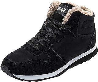 Zapatillas de Deporte para Hombre, Cuero de Gamuza, Cordones, Zapatos Casuales de caña Alta, Forro cálido, Antideslizante,...