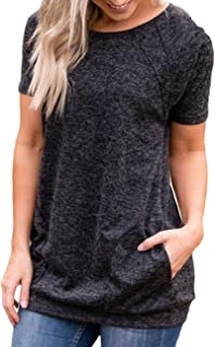 Womens Round Neck Short Sleeve Blouse with Pocket Casual Loose Fit Quick Dry T Shirt Gym Workout Tunic for Legging