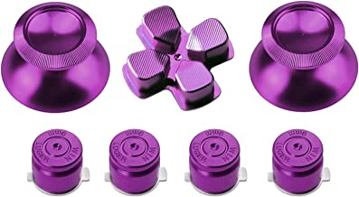 Gam3Gear Metal Replacement 7-in-1 Buttons Sets Thumbstick Cross for PS4 Controller Violet