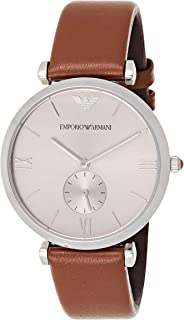 Emporio Armani Mens Quartz Watch, Analog Display and Leather Strap AR1675