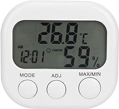 Queen.Y Higrómetro Termómetro Higrómetro Digital Portátil Reloj Incorporado Y Pantalla de Tiempo Temperatura Interior Precisa Medidor de Monitor de Humedad